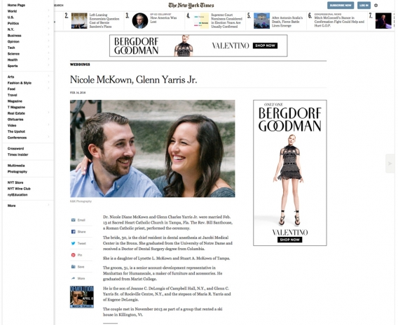 New York Times Wedding Announcement.Feature New York Times Publication Announcement K K Photography